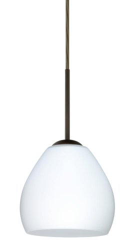 Besa Lighting 1BT-412207-HAL-BR 1X40W G9 Bolla Pendant with Opal Matte Glass, Bronze Finish