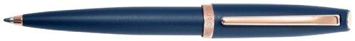 Aurora Style Satin & Rose Gold Blue Matte w/ Rose GT Ballpoint Pen - - Aurora Pen Ballpoint