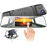 """JEEMAK Backup Camera 4.3"""" Touch Screen Mirror Dash Cam 1080P Rearview Front and Rear Dual Lens Dashboard Recorder with Waterproof Reversing Camera"""