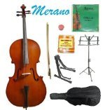MERANO BRAND 4/4 Size Natural Cello with Bag and Bow+Rosin+Extra Set of MERANO Brand Strings+Tuner+Cello Stand+Music Stand by Merano