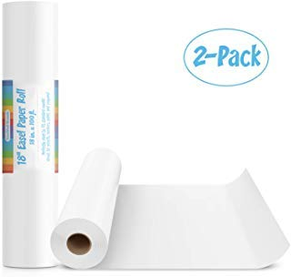 2 Pack of 18-Inch Easel Paper Roll for Arts & Crafts, Fits Most Standard Kids Easels, 100-Foot Rolls, 18''x100'