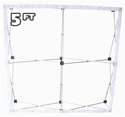 (5' Ft Fabric Pop up Trade Show Display Frame Package - Straight Single Side)