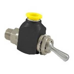 Clippard CR-GTV-3Q-P12 Cr 3-Way Toggle Valve, 1/4'' NPT, 3/8'' Push-Quick Fittings, Corrosion-Resistant Materials