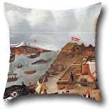 Pillow Cases Of Oil Painting Abraham Speeck - Danish Whaling Station,for Lover,chair,teens,monther,drawing Room,wedding 18 X 18 Inches / 45 By 45 Cm(both -