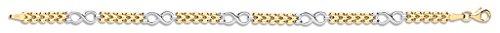9ct or jaune et blanc avec lien Fancy Mesdames Bracelet