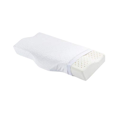 XHHWZB Orthopedic Natural Latex Pillow - High Neck Pillow for Sleeping with Pillow Covers - White Big Contour Cervical Bed Queen Pillows for Men Women Boys Girls (Color : White)