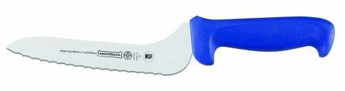 Mundial Offset Serrated Edge Sandwich Knife, Blue, 7-Inch