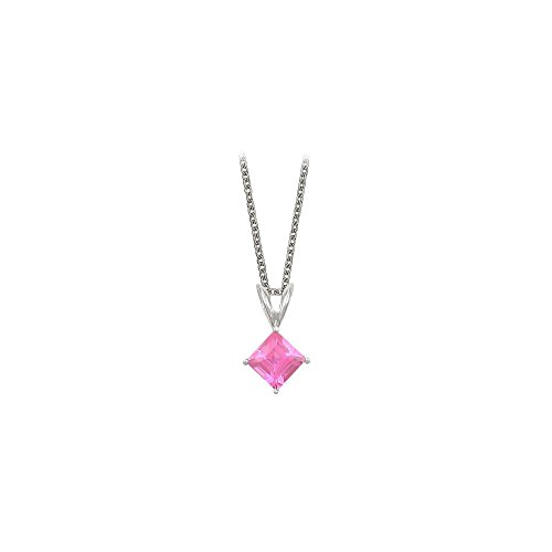 (Square Cut Created Pink Sapphire Pendant Necklace in Sterling Silver. 1ct.tw.)