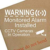6 X Cctv Monitored Alarm System Installed Video Recording Camera 5 2 Inch X 3 4 Inch White Clear Security Warning Window Stickers Mini Self Adhesive Vinyl Signs Home Premises Business