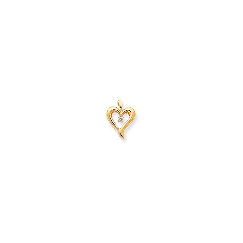 14k AA Diamond Heart Pendant, 14 kt Yellow (14k Aa Diamond Heart Pendant)