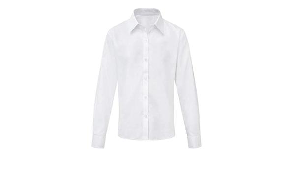 Camisa blanca para niñas de manga larga o corta lisa casual ...