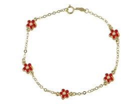 18K Yellow Gold Red Enamel Flower Bracelet 6.5 inches