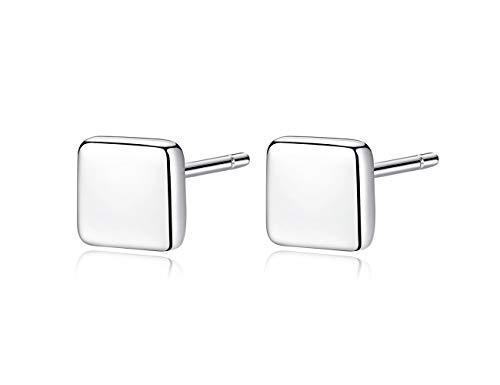 Minimalism Sterling Silver Tiny Dot Earrings Block Stud Disc Stud Earrings Everyday Wear (White gold block)