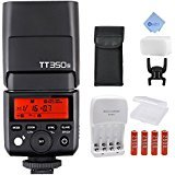 Godox TT350S GN36 1/8000s HSS Mini Flash 2.4G Wireless Master Speedlite for Sony Mirrorless DSLR Camera A77II A6000 A6500 RX10 Series + Mcoplus AA Battery Kit and Cloth