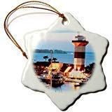 (3-Inch Porcelain Snowflake Decorative Hanging Ornament, Harbor Town Lighthouse at Hilton Head Island at)