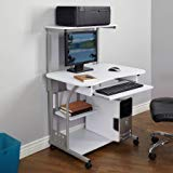 Generic 50163BLK Mobile Computer Tower with Shelf (White, Wood Composite, Metal)