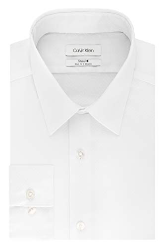 Calvin Klein Men's Dress Shirt Slim Fit Non Iron Stretch Solid, White, 16