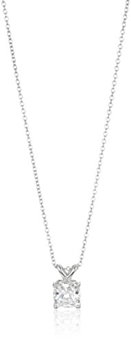 Platinum-Plated Sterling Silver Cushion-Cut Solitaire Pendant Neckalce made with Swarovski Zirconia, 16