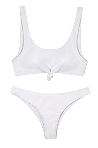 NO NO CAT Women's Bathing Suit Scoop Knotted High Cut Bikini Set Wide Straps Swimsuit Two Piece Swimwear (White, M(US 6-8) - Knotted Two Piece