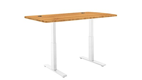 ActiveDesk SmartDesk Standing Desk with Electric Adjustable Height, White Frame & Classic Table Top, 53″ x 30″, Bamboo For Sale