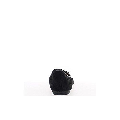 Ballerines grande taille noires avec noeud bout verni