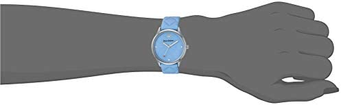 Juicy Couture Black Label Women's JC/1081LBLB Silver-Tone and Light Blue Quilted Leather Strap Watch
