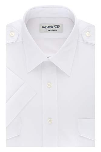Van Heusen Men's Short Sleeve Aviator Shirt,White,16.5