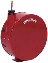 Reelcraft 50 Ft  Length 3 8  Size I D  300 Psi 20 3 4 X 20 3 4 X 8  Oal  Wxhxl  63 Lbs  Wt  7000 Series Spring Driven Low Pressure Air Water Reel With Hose  Fully Enclosed Model