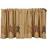 VHC Brands Primitive Kitchen Window Curtains - Stratton Tan Burlap Applique Star Tier Pair, L24