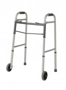 Guardian Two-Button Folding Walker with 5' Wheels Medline/Guradian