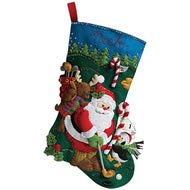 Bucilla 18-Inch Christmas Stocking Felt Applique Kit, 86145 Golfing Santa Plaid Inc
