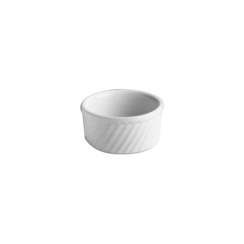Hall China 499-WH White 8.5 Oz. Round Fluted Souffle - 24 / CS by Hall China
