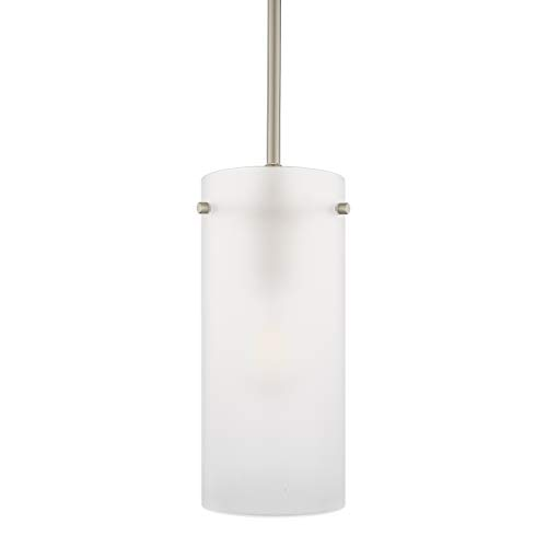 Effimero Large Hanging Pendant Light | Brushed Nickel Kitchen Island Light, Frosted Glass Shade LL-P312F-BN