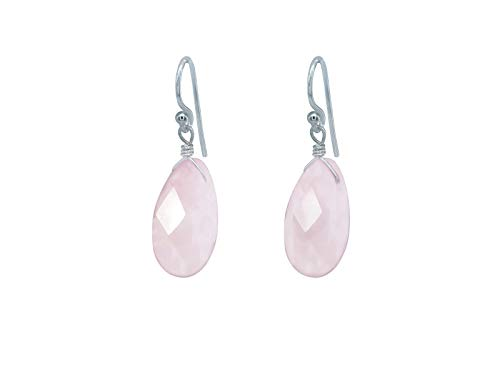 FRONAY Natural Pink Rose Quartz Sterling Silver Drop Dangle Hook Earrings - Made in USA (rose-quartz) from Fronay Silver Collection
