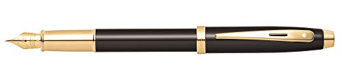 (Sheaffer 100 Glossy Black Lacquer Fountain Pen with Gold Tone Appointments and Fine Nib)