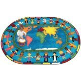 Joy Carpets Kid Essentials Inspirational Oval Let The Children Come Area Rug, Multicolored, 5'4'' x 7'8'' by Joy Carpets
