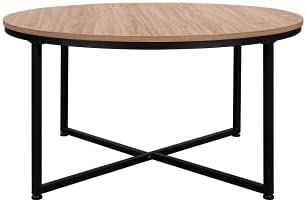 GetNature Modern Round Wood+ Metal Coffee Table Dining Table for Living Room/Outdoor Garden