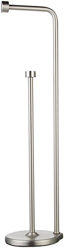 (AmazonBasics Free Standing Bathroom Toilet Paper Holder Stand with Reserve, Silver Nickel)