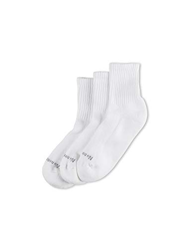 No Nonsense Women's Soft and Breathable Cushioned Mini Crew Socks 3 Pair Pack, Assorted, White, One Size, 4-10 ()