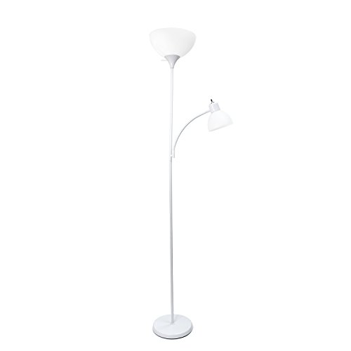 Simple Designs Home LF2000-WHT Floor Lamp with Reading Light, White