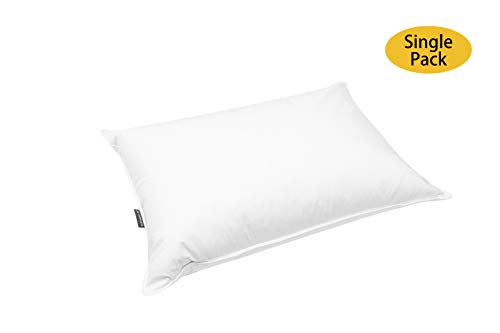 JA COMFORTS Goose Down and Feather Bed Pillows for Sleeping (Single Pack)- Standard/Queen(20IN×28IN), Hotel Collection, Natural Filling, Natural Cotton Cover, White