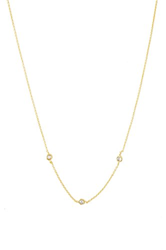 HONEYCAT Tiny Crystal Bezel Trio Necklace in 24k Gold Plate | Minimalist, Delicate Jewelry (Gold)