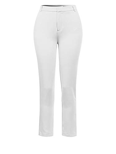 Design by Olivia Women's Classic Straight Slim Solid Trousers Casual Business Office Pants White S