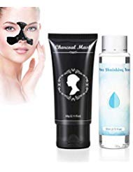 Blackhead Remover Mask, Activated Bamboo Charcoal Extracts Black Peel Off Mask with Free Chamomile Toner, Cleansing Pores & Oil Control, 60g/2.12 oz