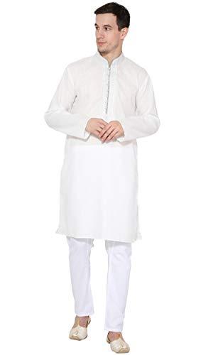 SKAVIJ Men's Tunic Cotton Kurta Pajama Set Casual Dress (X-Large, White)