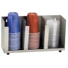 Dispense-Rite CTLD-15 Three Section Stainless Steel Cup and Lid Organizer