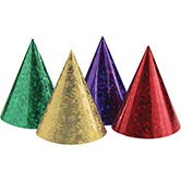 Creative Converting Club Pack Party Decorations Assorted Color Prismatic Paper Cone Hats, Box of 48 Party ()