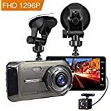 """Dash Cam, BEITESI Full HD Front and Rear Dual Dash Camera with 4"""" IPS LCD Screen, 170° Wide Angle Lens Dashboard Camera with G-Sensor, Loop Recording, Rear View and Motion Detection (Black00)"""