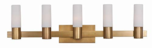 Maxim 22415SWNAB Contessa 5-Light Bath Vanity, Natural Aged Brass Finish, Satin White Glass, CA Incandescent E12 Incandescent Bulb , 9W Max., Wet Safety Rating, 3000K Color Temp, Bubble Glass Shade Material, 450 Rated Lumens ()