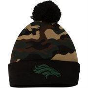 Men's Denver Broncos New Era Green Camo Top Knit Hat -
